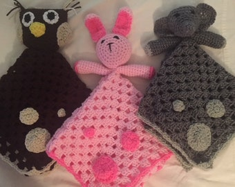 Handmade Hand Crocheted Childrens Toddler Baby Blanket Lovey-Pink Stuffed Easter Bunny Rabbit Animal Toy