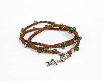 Sea Green Beaded Crochet Bracelet, Starfish Bracelet, Hemp Bracelet, Hippie Bracelet,Gypsy Wrap Bracelet, Gift for Her, Free Shipping
