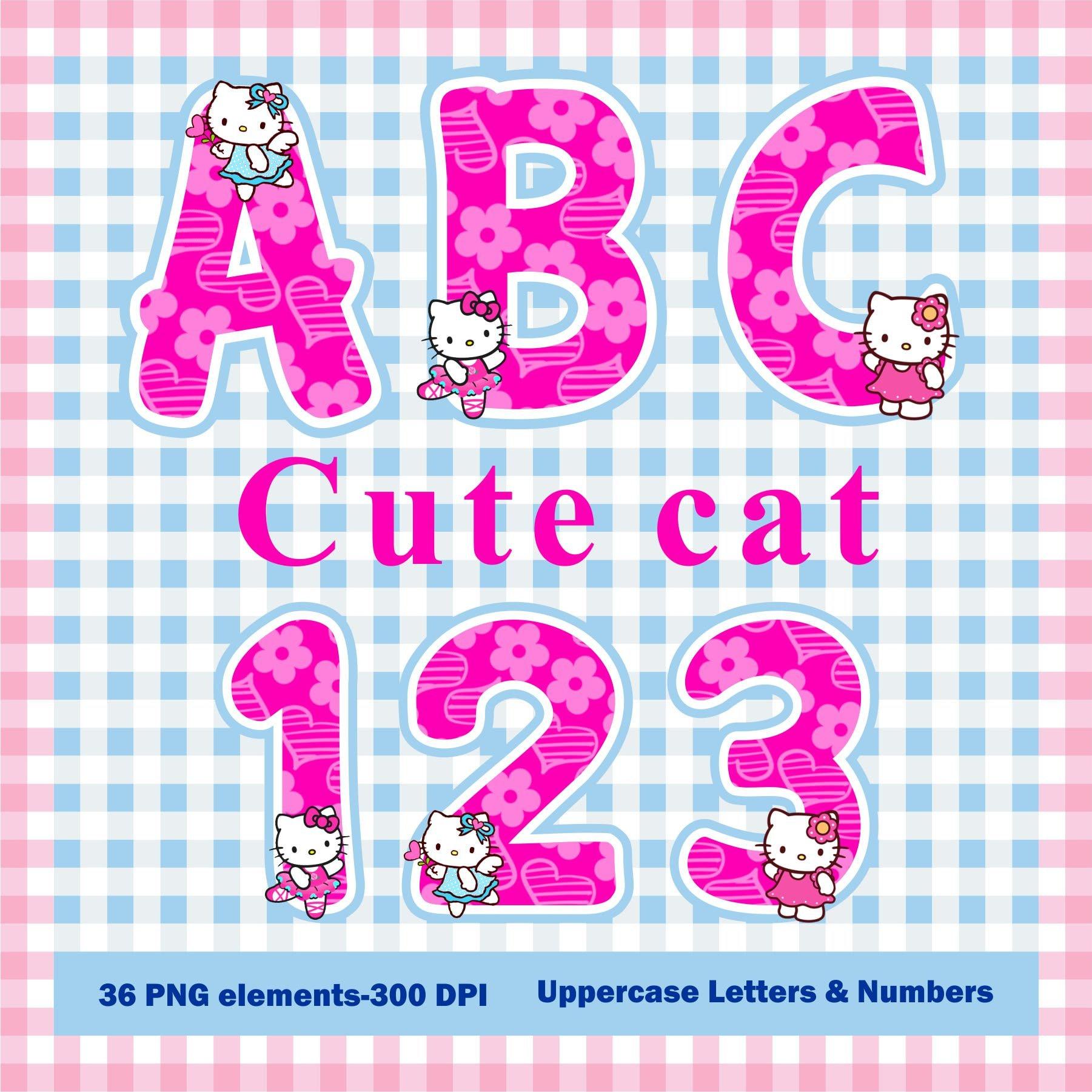 Cute Kitty alphabet clip art. Digital clip art can be used as