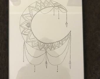 9x12 framed crescent moon drawing