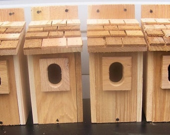 12 bluebird houses nest with cedar shake roof and peterson oval entrance handmade by Cedarnest free shipping