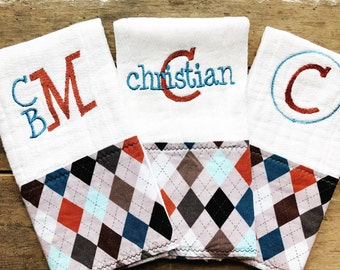 Argyle Burp Cloth Set, Personalized, Monogrammed, Baby Boy, Baby Shower Gift