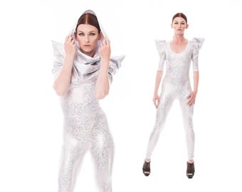 Signature Catsuit in Holographic White, Futuristic Clothing, Wedding Jumpsuit, Burning Man, White Catsuit, EDC, edm Rave Wear, by LENA QUIST