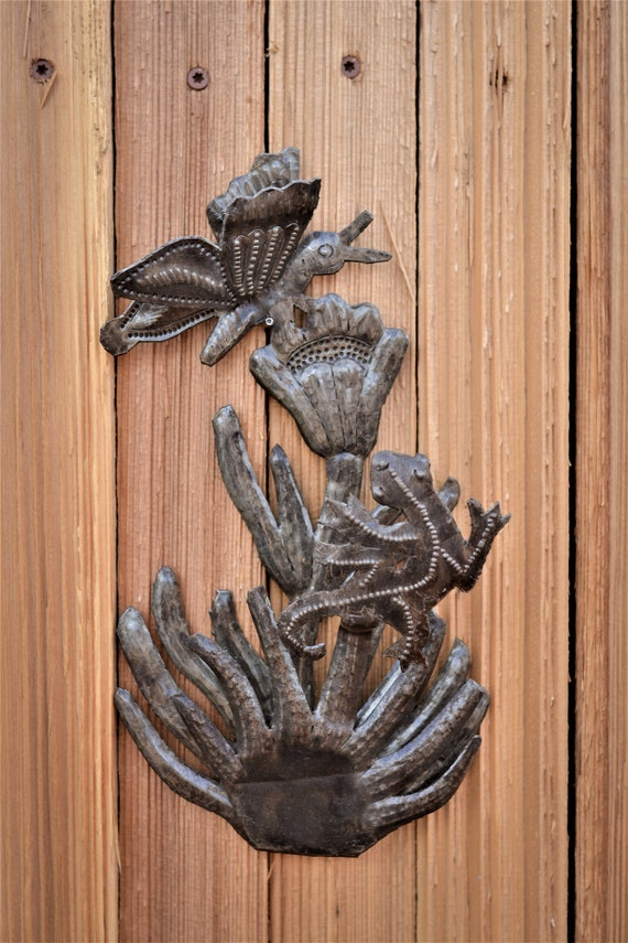 """Butterfly and Gecko, Outdoor Wall Art, Haitian Metal From Recycled Oil Drums 6""""x 10"""""""