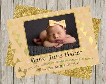 Gold Glitter Birth Announcement (5x7)