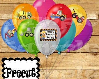 Construction Balloon Stickers Labels Party favors cup stickers goodie bags Birthday balloons Construction Birthday decal precut Personalized