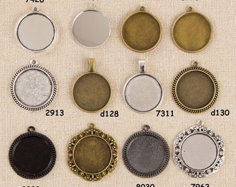 "5 Round Pendant Trays, fit 1"" 25mm Cabochon, Base Setting Blank Bezel Frame Cameo Antique Silver Bronze Black HK223"