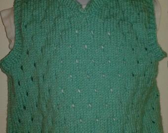 Hand Knit Toddler Lace Sweater v-neck Vest, Pale Mint color, size 2T