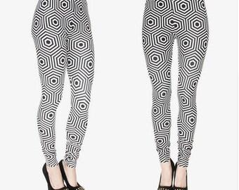 Hexagon black white legging