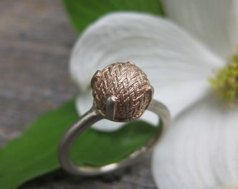 rose gold plated sterling victorian button ring size 6 WOVEN alternative engagement ring