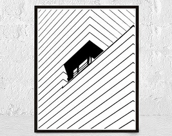Modern Minimal Wall Art, Black and White Print, Abstract Art, Geometric Decor, Large Poster Art, Printable Instant Digital Download