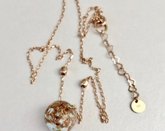 Gold silver choker with glass pendant