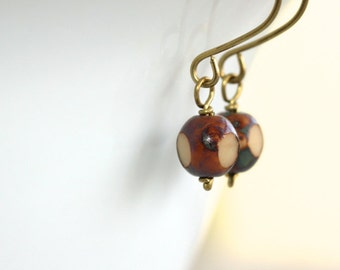 Brown and Beige Earrings - 'Proud To Be'