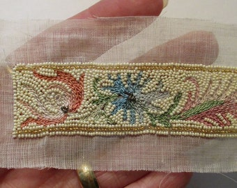 Antique 1920s Beaded Applique French