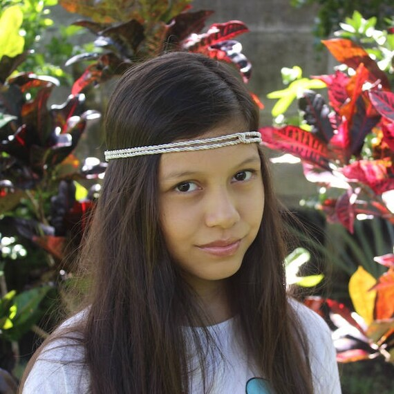 Silver Boho Headband, Bohemian Headband, Adult Boho Headband, Gray Girl Headband, Forehead Headband, Halo Headband, Girls Headband