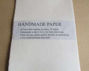 Handmade Paper from upcycled White cotton T-shirts, no dyes or additives. Eco- Friendly, 8 1/2 x 11 inches-Recycled Handmade Paper