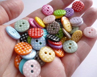 XS Polka Dot Buttons - MIXED BAG of 50