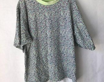 Vintage Boxy Colorful T Shirt - Size Large Extra Large - Blue Green - Geometric - Retro Tee
