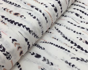 Feather Feathers cotton fabric, black and off-white feathers, quilting cotton, fabric by the yard, hunter, woodland, tribal, feathers