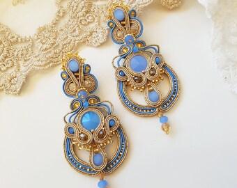 Soutache Earrings 3 in 1 - Long gold-blue Dangle Earrings, Small earrings, Pendant; Long Unique Earrings, Hand Embroidered Soutache Earrings