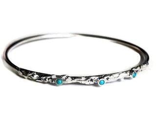 Silver bangle bracelet, solid silver bangle, Sterling Turquoise bracelet, solid silver bracelet, branch jewelry, Thin bracelet for women