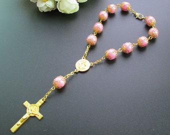 12pcs Faux Pearl Decade Rosary Party Favor Fuchsia - Baptism / Christening / Wedding / Mis Quince Recuerdos / Bautizo / JA312G-Pnk
