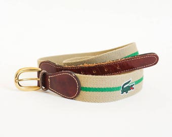 "Vintage Izod Lacoste Mens 36"" Wool Leather Surcingle Belt, Marked Brass Buckle Green Khaki Wool, Classic Preppy Casual Style"