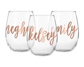 Wine Glasses, Wine Glass, Personalized Wine Glasses, Stemless Wine Glasses, Bridesmaid Wine Glasses, Wine Glasses Custom, Wedding Wine Glass