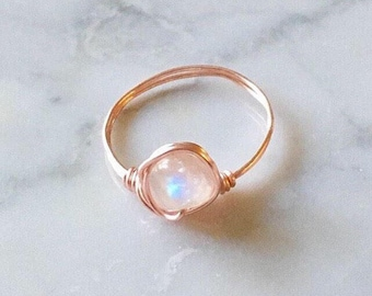 Rose Gold Moonstone Ring • Moonstone ring • Rose gold ring • Gemstone ring • Boho ring • Rainbow Moonstone