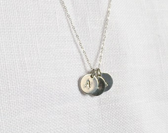 9mm, Initial Disc, One to Three Disc Necklace, Initial Disc, Sterling Silver, Personalized Jewelry, Monogram, Gift,  LIJ13050-2