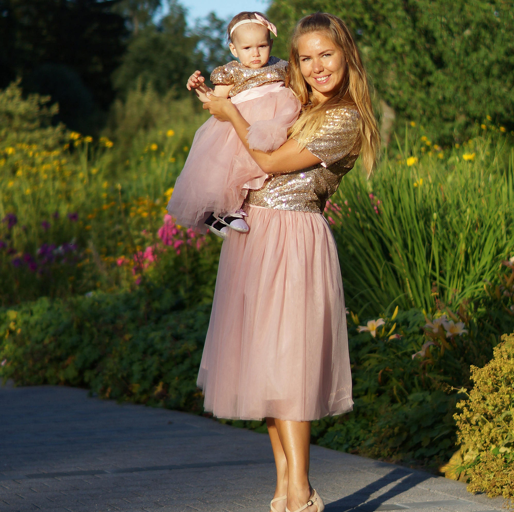 Gold mother daughter matching tutu dress sequin dresses for
