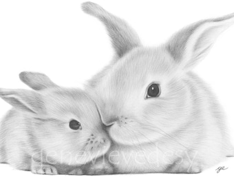 Black and white bunny art print of a pencil drawing - Mommy and Me - Nursery Art Print - Mother and Baby Bunny