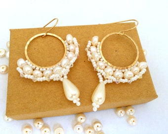 Beaded Hoop Earrings / Bridal Earrings / Bridal Pearl Earrings /  Wedding Earrings / Beaded Earrings