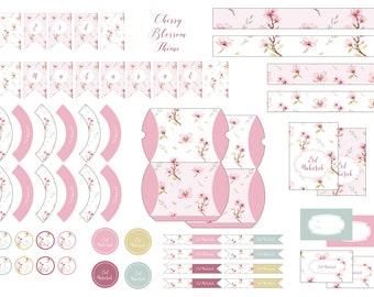 Cherry Blossom theme Eid Decoration Bundle, Digital Download