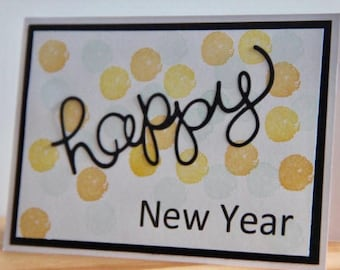 New Years Greeting Card. New Year Celebration. 2018 Card. Confetti New Years Card. Happy New Year Greeting Card