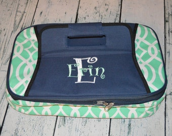 Personalized  Casserole Tote, Mint and Navy Casserole Carrier, Personalized Gift,  Monogrammed