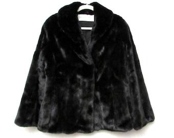 louis feraud black mink fur vintage short jacket coat | genuine mink real fur |  paris france designer clothing | gift for her christmas