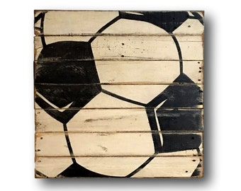 Wood Soccer Ball Sign - Soccer Bedroom Decor - Soccer Gift - Soccer Player Gift - Sports Banquet Gift - Coach Gift - Sports Bedroom Decor
