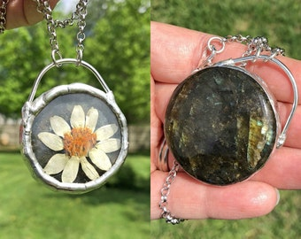 Daisy and Labradorite Double Sided Charm Necklace Glass Terrarium Necklace