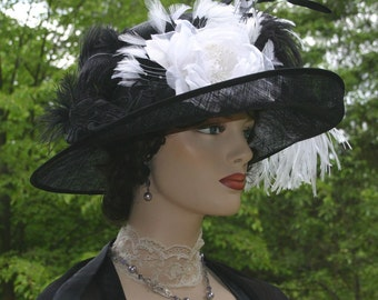 Kentucky Derby Hat Ascot Edwardian Tea Hat Titanic Somewhere Time Hat Downton Abbey Hat Women's Black & White Hat - Countess of Grantham