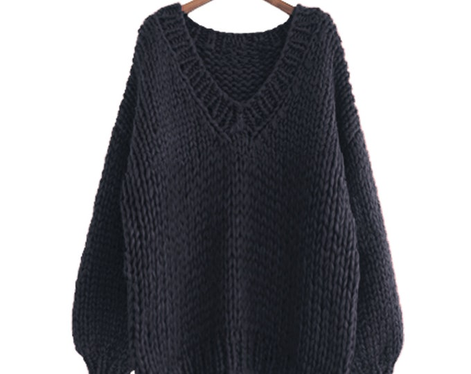 Hand knit oversize woman sweater V-neck slouchy wool Black pullover sweater