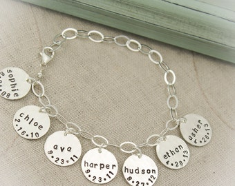 Personalized Mommy Charm Bracelet with Names and Birthdates, New Mommy Bracelet, Mother's Day Gift, New Baby Gift, Hand Stamped Jewelry