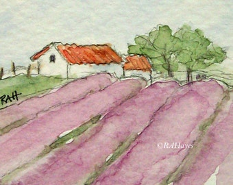 Lavender Farm in Provence France Original Miniature Watercolor Painting Housewarming Gift