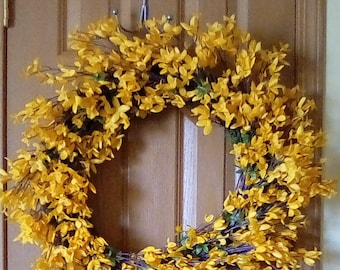 Forsythia Wreath Spring Wreath Summer Wreath Home Decor Indoor Wreath Outdoor Wreath Floral Decor
