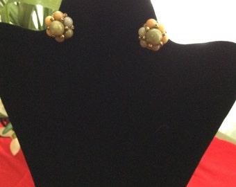 Vintage Cluster Bead Earrings clip on