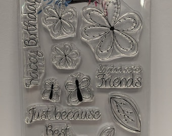 Dear Friend - Doodled flowers A6 Clear Polymer Stamp set by Imagine Design Create