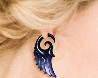 Fake Gauge - Dark Angel Wings - Tribal Earrings, Cheaters, Split, Expanders, Fake Plugs, Organic, Eco Friendly, Handmade, Black Horn - H20