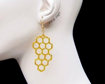 Honeycomb Earrings - The Bee's Knees Collection - Bee Earrings - Laser Cut Earrings (C.A.B. Fayre Original Design)