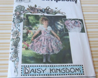 Simplicity 9450 Daisy Kingdom Dress, Hat , Purse and Bow UNCUT 8 to 14