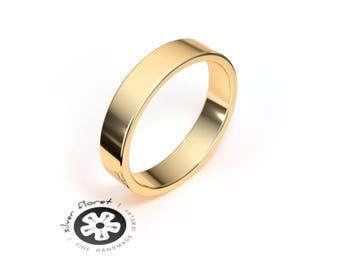 4mm Solid Yellow Gold Band (10K, 14K, 18K), Flat Gold Band, Plain Men's Women's Gold Wedding Band, Simple Wedding Ring